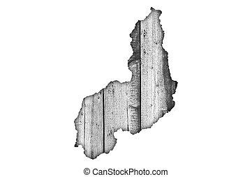 Map of Piaui on weathered wood