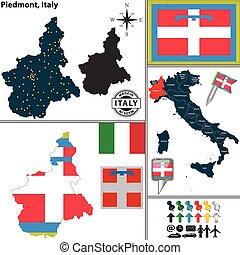 Map of Piedmont, Italy