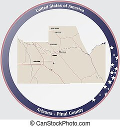 Map of Pinal County in Arizona