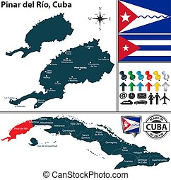 Vector map of Pinar del Rio province and location on Cuban map