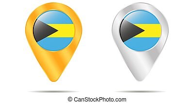 Map of pins with flag of Bahamas. On a white background