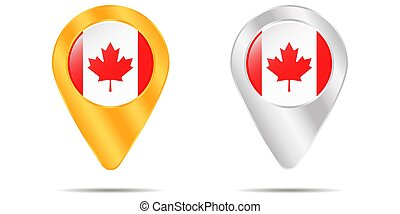 Map of pins with flag of Canada. On a white background