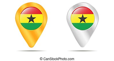 Map of pins with flag of Ghana. On a white background