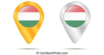 Map of pins with flag of Hungary. On a white background
