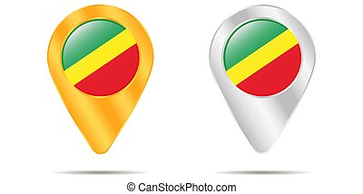 Map of pins with flag of Republic of the Congo. On a white background