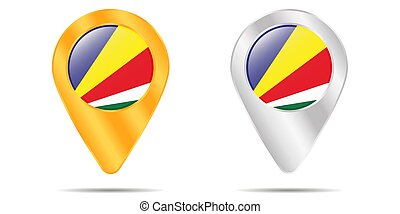 Map of pins with flag of Seychelles. On a white background