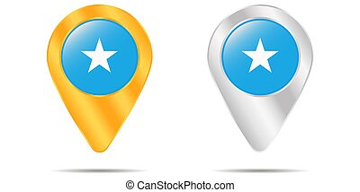 Map of pins with flag of Somalia. On a white background