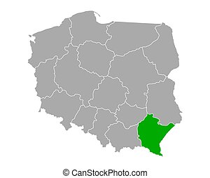 Map of Podkarpackie in Poland