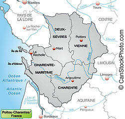 Map of Poitou-Charentes with borders in gray