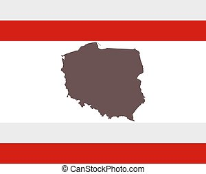 Map of Poland on background with flag