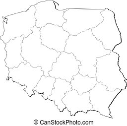 Map of Poland - Political map of Poland with the several...