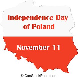 Map of Poland with national flag. Independence day Poland