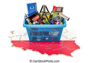 Map of Poland with shopping basket full of home and kitchen appliances, 3D rendering