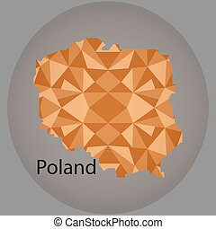 map of Poland,low polygon