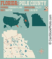 Map of Polk County in Florida