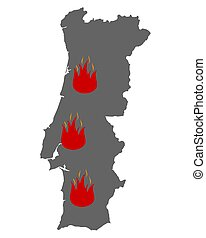 Map of Portugal and fire symbol