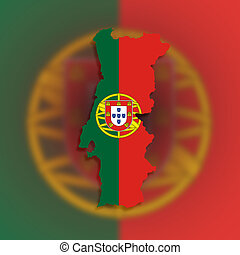 Clipart Of Flag And Map Of Portugal On White Background Csp - Portugal map flag