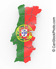 Map of Portugal in Portugese flag colors
