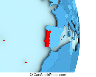 Map of Portugal in red