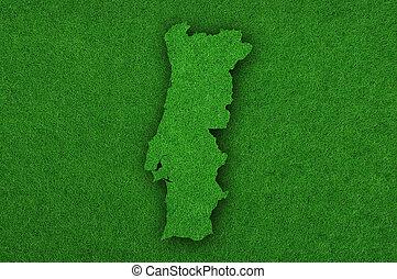 Map of Portugal on green felt
