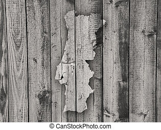 Map of Portugal on weathered wood