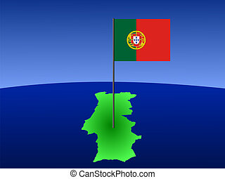 map of portugal and portuguese flag on pole illustration