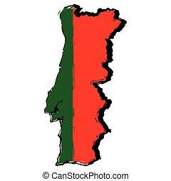 Map of portugal with flag