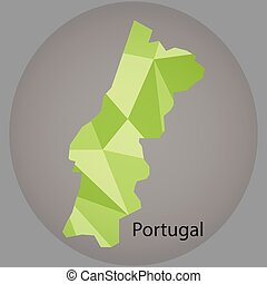 map of Portugal,low polygon