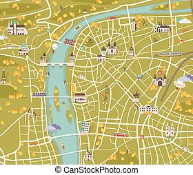 Map of Prague. Vector illustration - vector graphics, modern...