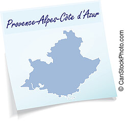 Map of Provence-Alpes-Cote d Azur as sticky note in blue