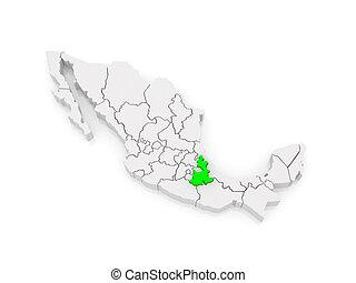 Map of Puebla. Mexico.
