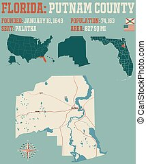 Map of Putnam County in Florida