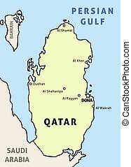 Map of Qatar - Qatar map. Outline illustration country map ...
