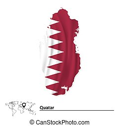 Map of Qatar with flag