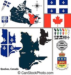 Map of Quebec, Canada
