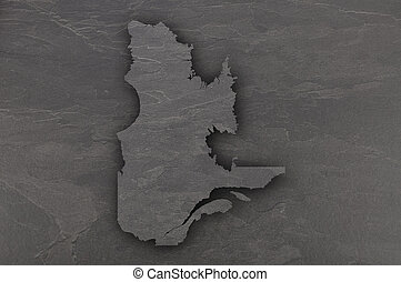 Map of Quebec on dark slate