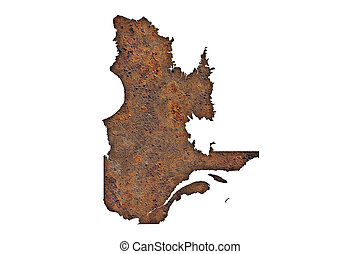 Map of Quebec on rusty metal