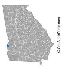 Map of Quitman in Georgia