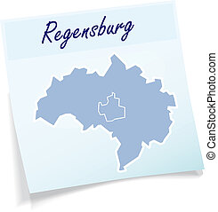 Map of regensburg as sticky note in blue