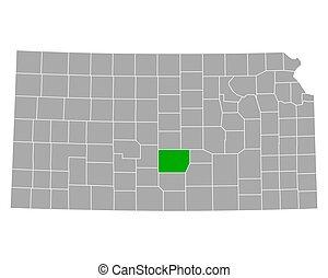 Map of Reno in Kansas