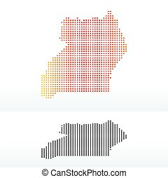 Map of Republic Uganda with Dot Pattern