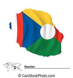 Map of Reunion with flag