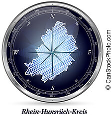 Map of Rhein-Hunsrueck-Kreis with borders in chrome
