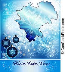 Map of Rhein-Lahn in Christmas Design in blue