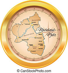 Map of Rhineland-Palatinate as an overview map in gold