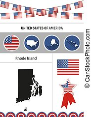 Map of Rhode Island. Set of flat design icons nfographics elemen