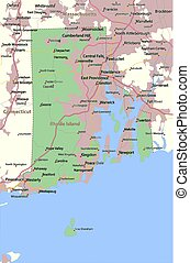 Rhode Island - Map of Rhode Island. Shows state borders, ...