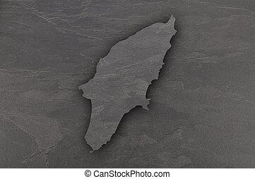 Map of Rhodes on dark slate