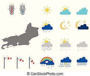 Map of Rio de Janeiro with weather symbols