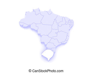 Map of Rio Grande do Sul. Brazil.